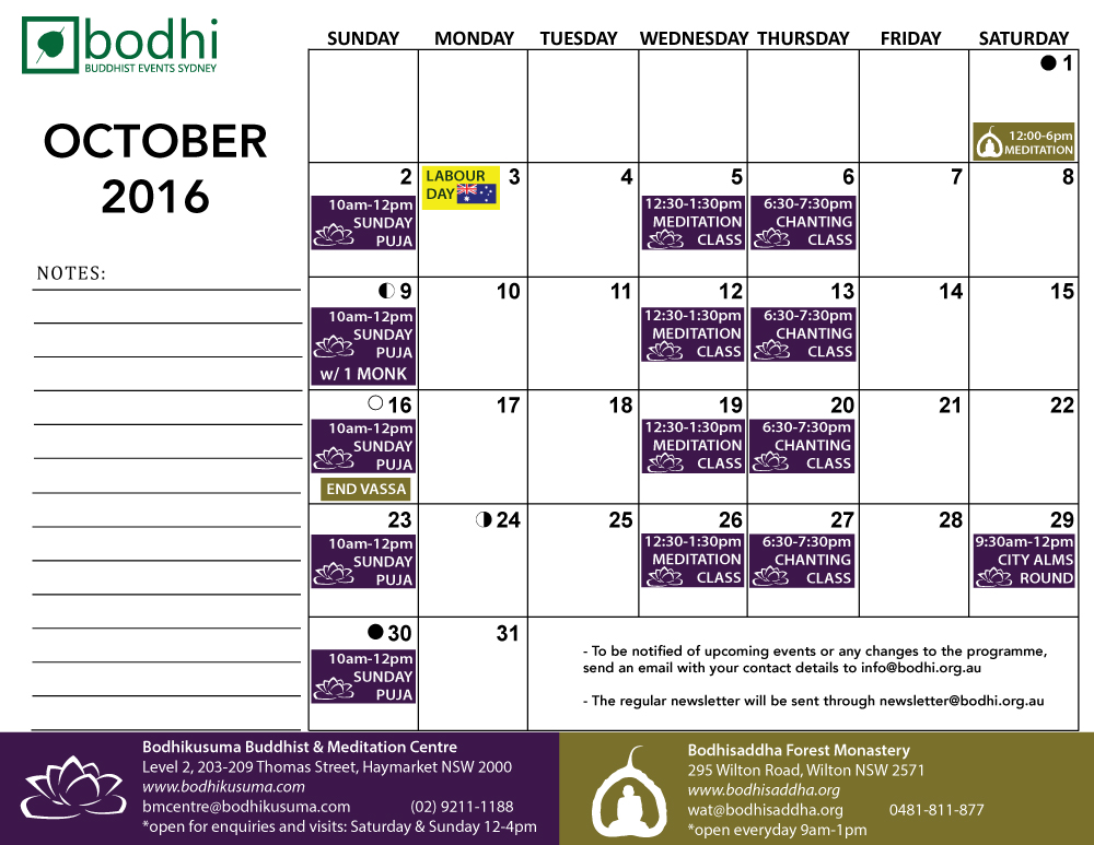 2016-October-Bodhi-Events