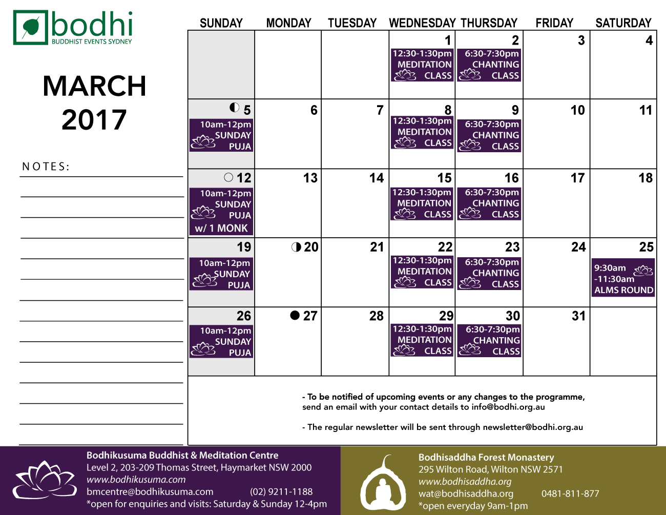 2017-03-March-Bodhi-Events