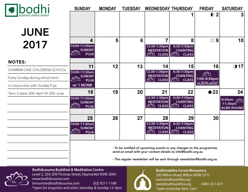 2017-06-June-Bodhi-Events
