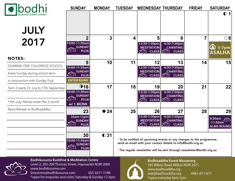 2017-07-July-Bodhi-Events