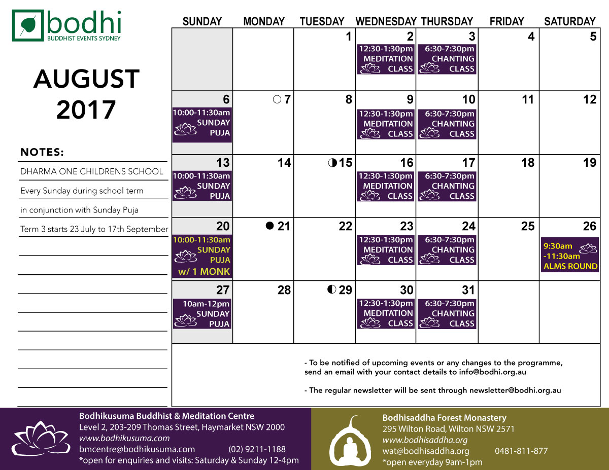 2017-08-August-Bodhi-Events