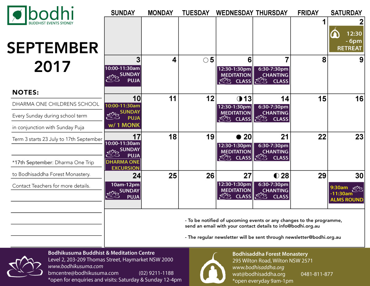 2017-09-September-Bodhi-Events