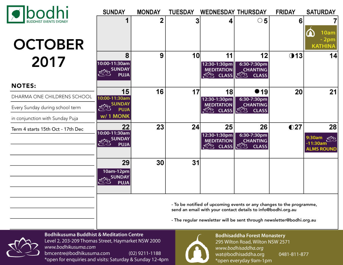 2017-10-October-Bodhi-Events