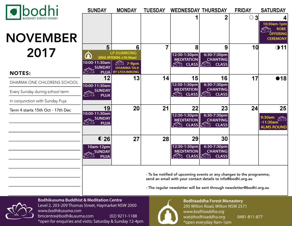 2017-11-November-Bodhi-Events